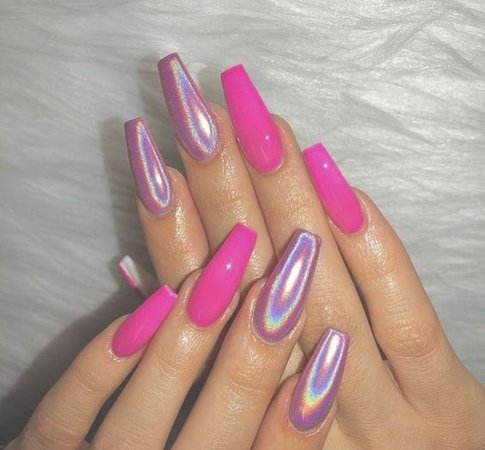 Hot & Metallic Pink Coffin Nails