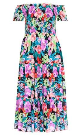 Shop Women's Plus Size Exotic Blooms Maxi Dress - black - Clothing   City Chic USA
