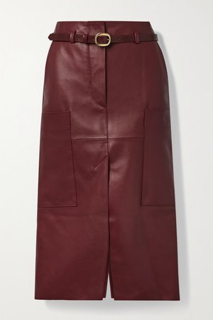 Randy B Belted Leather Midi Skirt - Red