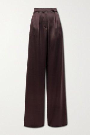 Chocolate Sakura satin wide-leg pants | 16ARLINGTON | NET-A-PORTER