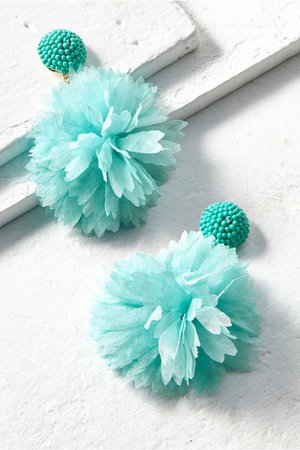 Chiffon Pom Pom Earrings - Fluffy Chiffon Petal Pom Earrings | Soft Surroundings