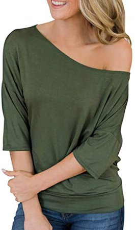 Hilltichu Womens Summer Off Shoulder Tops Casual Half Sleeve Shirts at Amazon Women's Clothing store