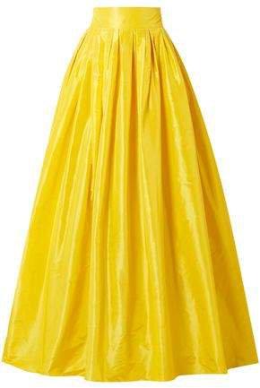 Flared Pleated Silk-taffeta Maxi Skirt