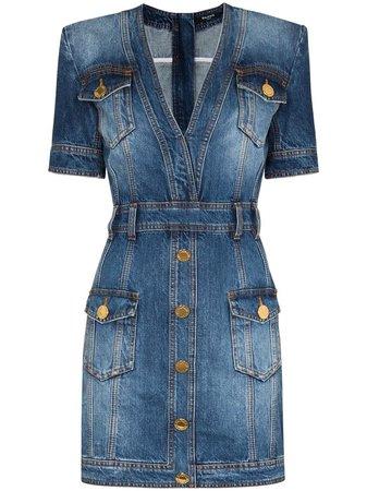 Balmain Short Stonewashed Denim Dress - Farfetch