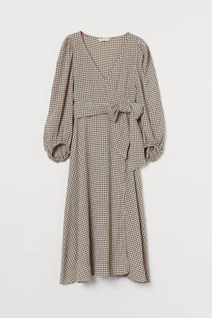 Jersey Wrap Dress - Beige