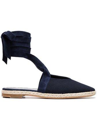 Jw Anderson Blue Ankle Strap Suede Espadrilles FW16WR18NAVY | Farfetch