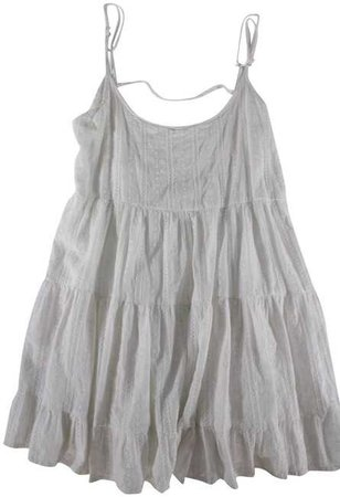 Brandy Melville White Sleeveless Eyelet Lace Ruffle Mini Dress Tunic Size OS (one size) - Tradesy