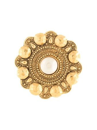 Chanel Pre-Owned Flower Embossed Brooch 2403000485163 Gold | Farfetch