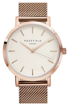 Rosefield Mercer Mesh Strap Watch, 38mm | Nordstrom