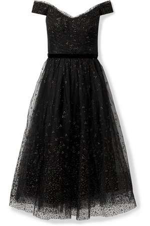 Marchesa Notte | Off-the-shoulder ruched glittered tulle gown | NET-A-PORTER.COM