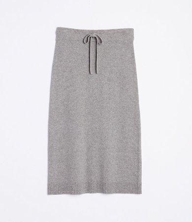 Tie Waist Midi Sweater Skirt