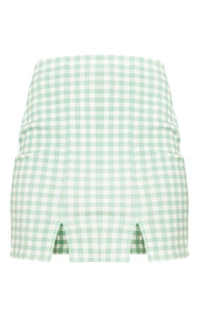 Mint Gingham Slit Front Mini Skirt | Skirts | PrettyLittleThing