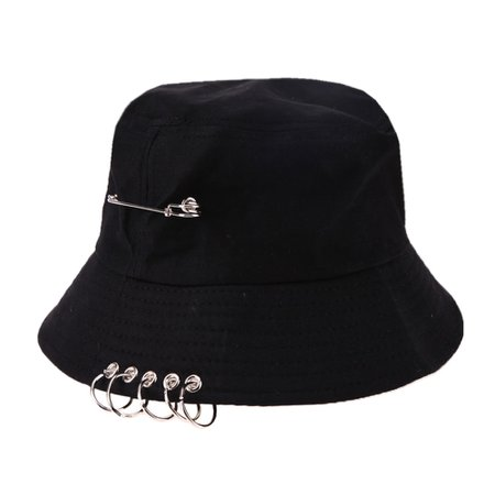 *clipped by @luci-her* Solid Color Cool Unisex Iron Pin Ring Personality Bucket Hat Cap Folding Fisherman Hat Hunting Fishing Outdoor Cap|hat bucket hat|bucket hatfisherman hat - AliExpress