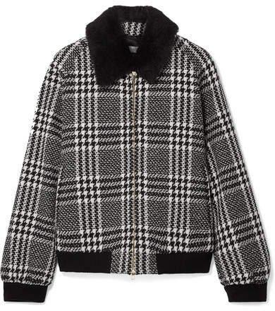 Faux Fur-trimmed Houndstooth Wool-tweed Bomber Jacket - Black