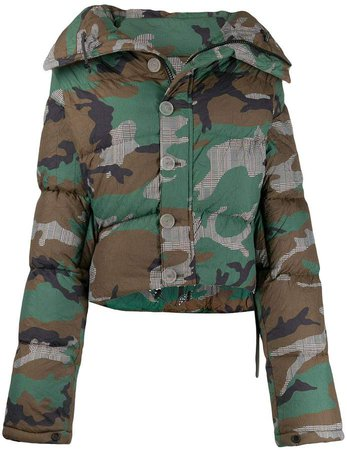 camouflage print puffer jacket