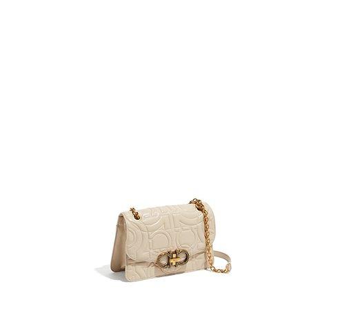 White leather gancino bag