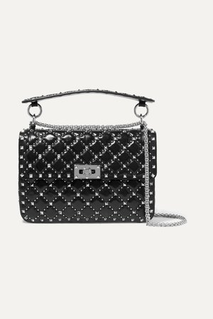 Black Valentino Garavani Rockstud Spike medium quilted leather shoulder bag | Valentino | NET-A-PORTER