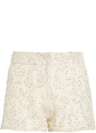 Alexis Cassian Embroidered Cotton-Blend Shorts