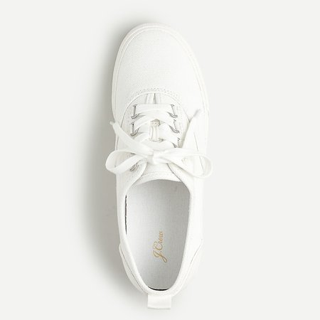 J.Crew: Canvas Lace-up Sneakers For Women white