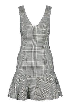 Check Drop Hem Flippy Dress | boohoo