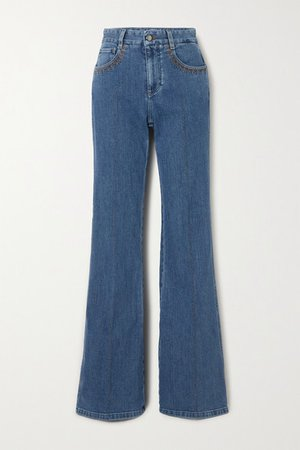 Printed High-rise Flared Jeans - Blue