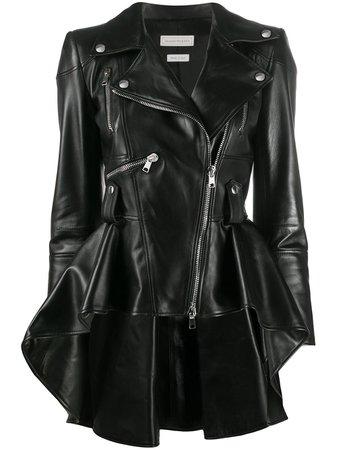 Alexander McQueen Flared Leather Biker Jacket - Farfetch