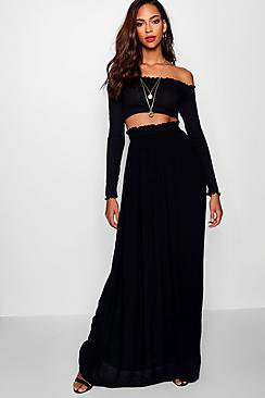 Tall Woven Shirred Waist Maxi Skirt