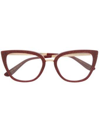 Dolce & Gabbana Eyewear Glitter Cat Eye Glasses DG3314 Red | Farfetch