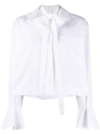 Valentino Ruffle Sleeve Blouse With Neck Tie Detail - Farfetch