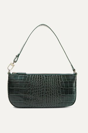 Green Rachel croc-effect leather shoulder bag | BY FAR | NET-A-PORTER