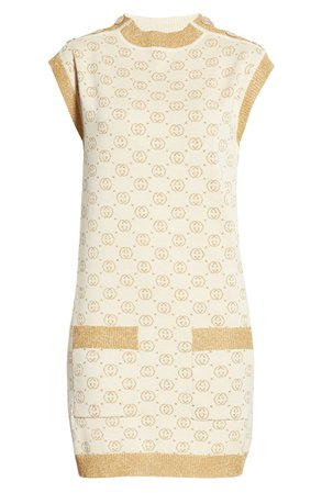 Gucci Interlocking-G Metallic Jacquard Wool Sweater Minidress   Nordstrom