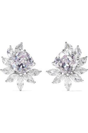 Kenneth Jay Lane   Rhodium-plated cubic zirconia clip earrings   NET-A-PORTER.COM