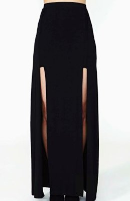 black maxi skirt front duble slit - Google Search