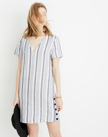 Linen Side-Button Easy Dress