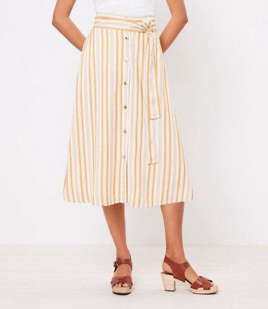 Striped Tie Waist Button Midi Skirt