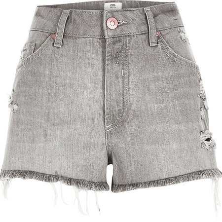 Petite grey ripped mid rise denim shorts | River Island