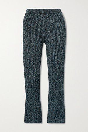 Cropped Space-dyed Ribbed-knit Flared Pants - Blue