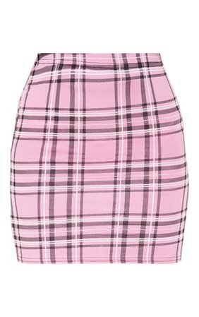 Dusty Pink Check Print Mini Skirt   Skirts   PrettyLittleThing USA