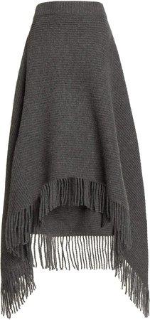 Paco Rabanne Fringed Asymmetric Ribbed-Knit Skirt