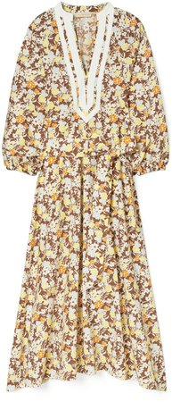 Printed Puffed-Sleeve Tunic Dress