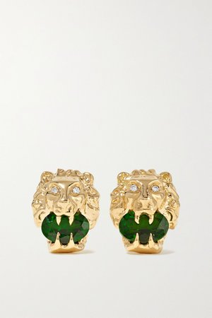 Gold 18-karat gold, chrome diopside and diamond earrings   Gucci   NET-A-PORTER
