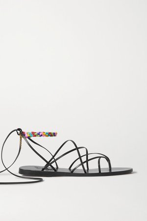 Ermioni Pearl And Bead-embellished Leather Sandals - Black