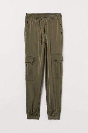 Satin Cargo Pants - Green
