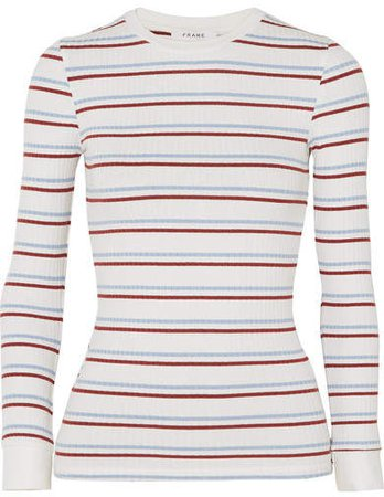 Striped Ribbed Stretch-jersey Top - White