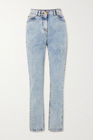 Acid-wash High-rise Skinny Jeans - Blue