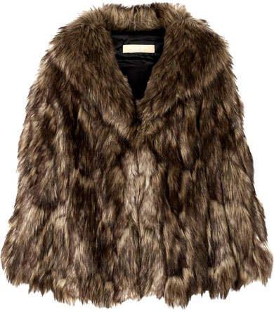 Faux Fur Cape - Brown