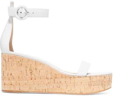 Portofino 45 Leather Wedge Sandals - White