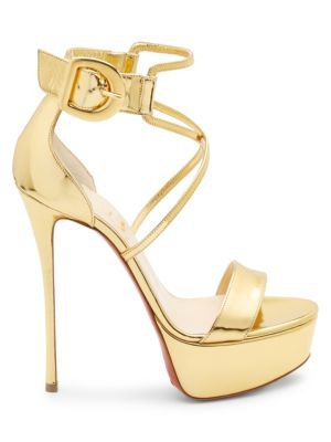 Christian Louboutin Choca 130 Mirrored Leather Platform Sandals