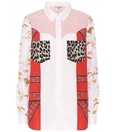 Patchworked cotton poplin shirt