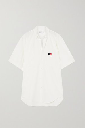 Oversized Embroidered Cotton-poplin Shirt - White